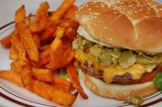 The best green chile cheese burger at Monroe's in Albuquerque.  Yum!