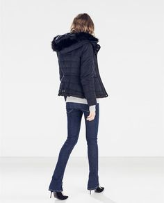 Image 1 of QUILTED ANORAK WITH FUR HOOD from Zara