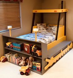 Twin Size Bulldozer Bed PLANS (pdf format), Create a Construction Themed Bedroom for your Child, Perfect for the DIY Woodworking Enthusiast - Zimmereinrichtung Boys Bedroom Decor, Bedroom Themes, Bedroom Ideas, Camas Murphy, Diy Toddler Bed, Toddler Beds For Boys, Teen Boys, Bed Dimensions, Murphy Bed Plans