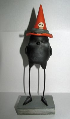 Halloween Art Black Bird with Witch's hat character folk art by Janell Berryman Pumpkinseeds by JanellBerryman on Etsy