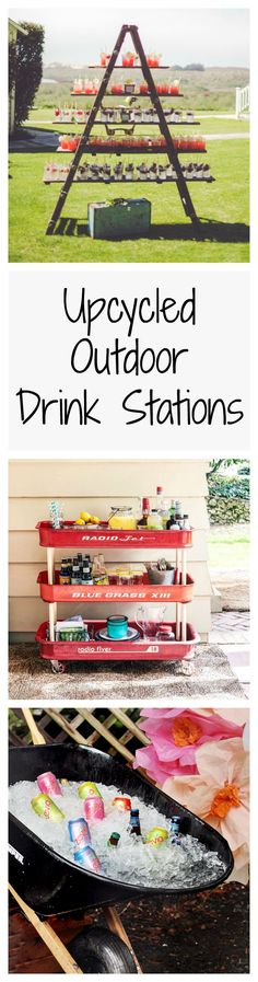 Serve up drinks—and tons of rustic charm—with these upcycled outdoor drink stations, perfect for any backyard.