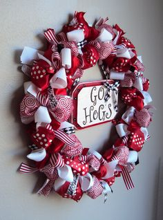Super cute to make! Just tie bows and glue to a wreath and add a little center piece!!
