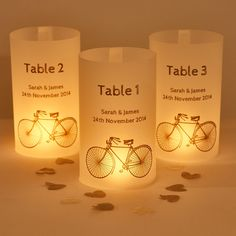 Cyclist wedding table number luminary lanterns-London to