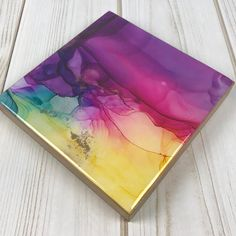 5 x 5 x 3/4 (artwork dimensions only, stand not included) Your purchase includes a wire stand perfect for displaying this little mini on a shelf or office desk. The cradled panel can also be placed on a nail if wall art is more your thing. This colorful piece is perfect for you or a