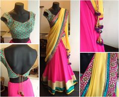 bride - mehendi  sister of the bride - sangeet   Pink half saree with yellow duppata and blue blouse » MinMit Clothing