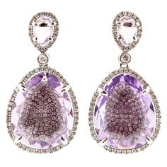Amethyst Micro Pave Diamond Gold Dangle Earrings | From a unique collection of vintage dangle earrings at https://www.1stdibs.com/jewelry/earrings/dangle-earrings/