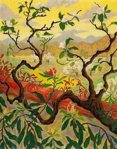 Paul Ranson Japanese Style Landscape painting, oil on canvas & frame; Paul Ranson Japanese Style Landscape is shipped worldwide, 60 days money back guarantee. Pierre Bonnard, Japanese Painting, Japanese Art, Japanese Style, Paul Gauguin, Art Français, Art Asiatique, Japanese Landscape, Impressionist Artists