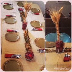 Cranberry and Wheat Fall Centerpieces! Perfect and easy for Thanksgiving. The cranberries are floating in water and I placed eucalyptus in between.