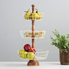 Displaying your favorite fruits, veggies, sweets and treats has never looked better! This Cream Wooden Basket Tray will look great in your kitchen! Kitchen Sale, Kitchen Redo, Kitchen Dining, Kitchen Tray, Kitchen Ideas, Wire Basket Shelves, Wire Baskets, Tiered Fruit Basket, Kirkland Store