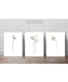 Poppy Clip Art Taupe Floral Home Decor set 3, Rustic Minimalist Modern Bedroom Wall Print, White Poppies Abstract Watercolor Illustration