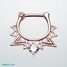 Rose Gold Retro Spike Triangle Sparkle Septum Clicker 16g