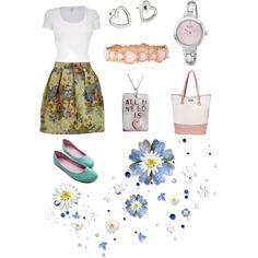 Saia com flores - Look romântico!!