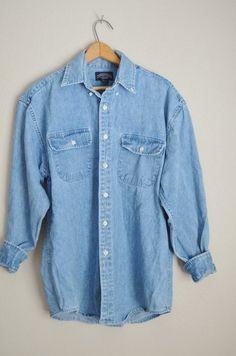f0fe7cfbe6c556 vintage cotton denim jean 80s 90s button down oversize boyfriend jean shirt  blouse -- womens large