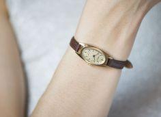 Oval women's wrist watch Seagull very rare watch gold by SovietEra