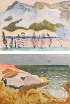 Mountain Landscape and Ocean with Gulls: A Double-sided Watercolor by MILTON AVERY