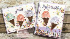 Birthday Shaker Card Ideas - Ice Cream Corner Suite | Lynn Dunn Create Birthday Card, Birthday Cards, It's Your Birthday, Ice Cream Cone Images, Card Making Kits, Interactive Cards, Shaker Cards, Kids Cards, 21 Cards