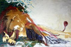 Meu Leão, 2003, Acrilico sobre tela - 95x145cm Painting, Contemporary Art, Artists, Paintings, Painting Art, Painted Canvas