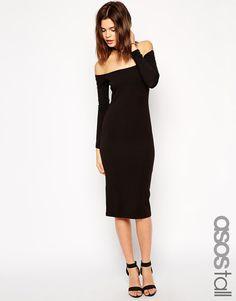 ASOS TALL Long Sleeve Bardot Midi Bodycon Dress