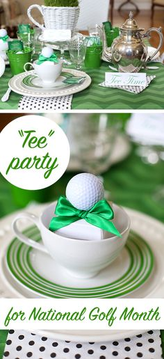 """Such a cute idea; throw a """"tee"""" party! This is great for any summer party. The linens are so great for this theme! http://www.ehow.com/ehow-home/blog/celebrate-national-golf-month-with-a-tee-party/?utm_source=pinterest.com&utm_medium=referral&utm_content=blog&utm_campaign=fanpage"""