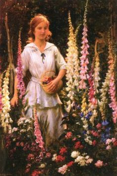 ⊰ Posing with Posies ⊱ paintings of women and flowers - Charles Courtney Curran | A Corner of Grandmother's Garden