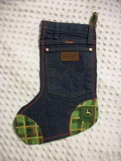 John Deere and Wrangler denim Christmas stocking