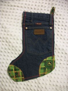 John Deere and Wrangler denim Christmas stocking