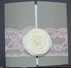 Lace and flower card by CardsbyWickedLees on Etsy