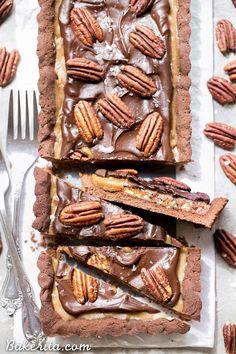 Chocolate Pecan Tart has. gluten-free, Paleo, refined sugar free, and vegan.