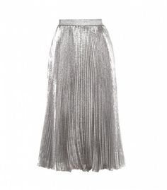 5b528fd9ea4824 Christopher Kane Metallic Midi Skirt Pleated Skirt Outfit