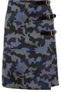 b1b24ba7b0 Christopher Kane - Camouflage-print wool and silk-blend kilt