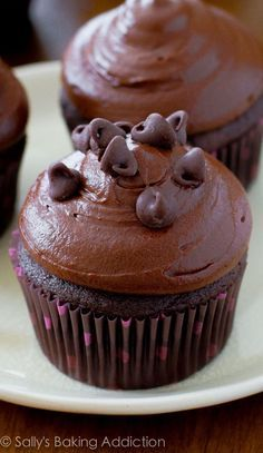 SO GOOD!!! Dark chocolate cupcakes topped with dark chocolate frosting!