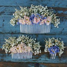 Meadow Pastels Dried Flower Hair Comb by EnglishFlowerFarmer