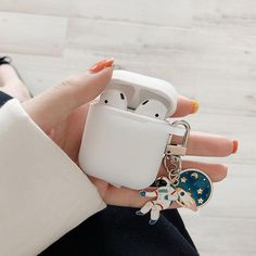 Cosmic Astronaut Spaceman Silicone Cases for Apple Airpods w/ Key Ring - White