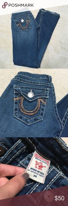 True religion brand jeans True religion brand jeans. True religions. The perfect jean with brown stitching horseshoe on the back pockets. Two patches have been added to each of the butt pockets because my booty ripped the pockets open. Embarrassing moments in my life haha. Can't tell when worn that there are patches. Make an offer if interested. They still have lots of love to give True Religion Jeans Straight Leg