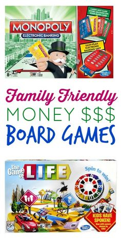 Family friendly money related board games you can play with your family! It's a fun and easy way to start teaching financial principles.