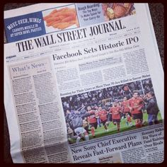 Facebook Sets Historic IPO front page. February 2, 2012
