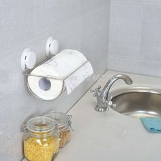 (28.69$)  Buy here - http://aid25.worlditems.win/all/product.php?id=32317114030 - Free shipping strong Sucker Vacuum absorption  255mm Stainless steel Kitchen paper holder Paper towel rack