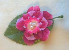 Pearlescent  Center Ladies Flower Clip Tabi's Creative Creatures Tabi's Elegant Hair Pieces by TabiCreativeCreature on Etsy