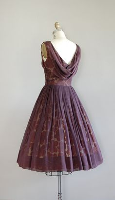Love the back vintage 50s dress / 1950s dress / silk chiffon / by DearGolden