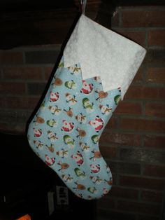 Christmas Holiday Stocking - Snowmen Santa & Reindeer with White Snowflake Trim and Lining
