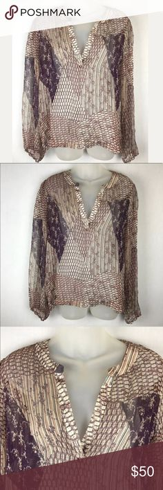"""Rory Beca sheer top Rory Beca Size Large 100% silk chiffon Really pretty  Excellent condition   Under arms across the back 23"""" Shoulder to hem down back  24"""" Rory Beca Tops Blouses"""