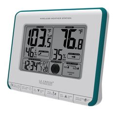 LaCrosse Technology Blue Wireless Weather Station * Wireless Weather Station* Wireless In/Out temperature (F/C) and humidity (%RH) with Min/Max records* 6 moon phase icons* Sensor signal strength indicator* Temperature alerts (In/Out)* Temperature trend indicator* 12/24 hour time (manual time) with snooze alarm* Calendar: month #hometools #homeequipment #homedepot #houseneeds