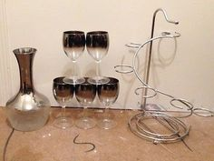 Need 2 Wine Glasses Vintage-Dorothy-Thorpe-France-Silver-Flash-Ombre-Fade-Sherry-Cordial-Glass-Set