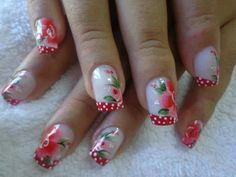 cute flowery nails