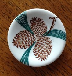"""TEPCO CHINA PINECONE PATTERN BUTTER PAT 3-1/8"""" diam.  