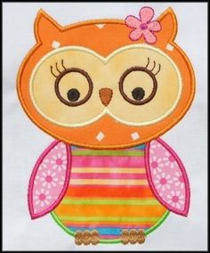 Miss Owl Applique designs 3 sizes by DBembroideryDesigns on Etsy, $4.99