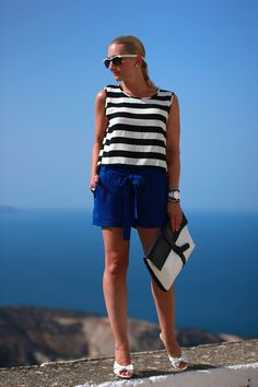 blue shorts - Mango / striped crop top - New Yorker / white high heel sandals - Tardi's / clutch - Zara / sunglasses - no name / earrings - vintage / bracelets - Swarovski, Ti Sento, Thomas Sabo / white chronograph - Swarovski / rings - Thomas Sabo, engagement ring