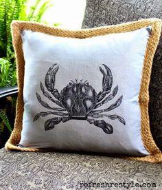 A dozen DIY coastal beach pillow ideas with tutorials to show you how to whip them up!