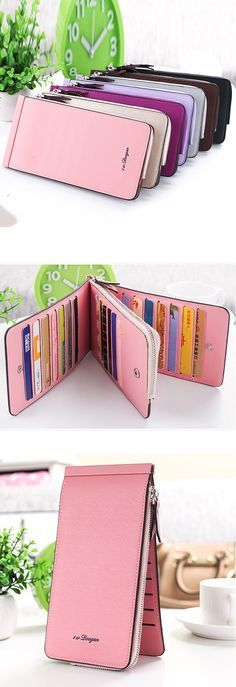 US$9.39 Women Microfiber Leather Multi-Card Slots Wallet Card Hocardlders Phone Bag