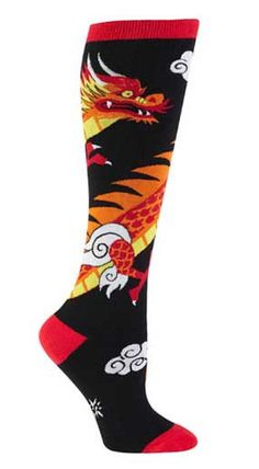 Black, red, orange, and yellow knee high with a majestic Chinese dragon and clouds on it.